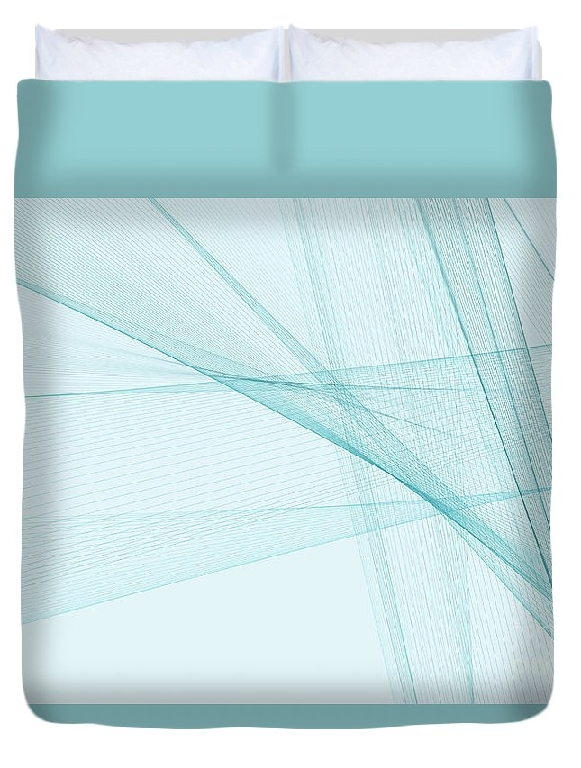 Abstract Duvet Cover featuring the digital art Lake Computer Graphic Line Pattern by Frank Ramspott
