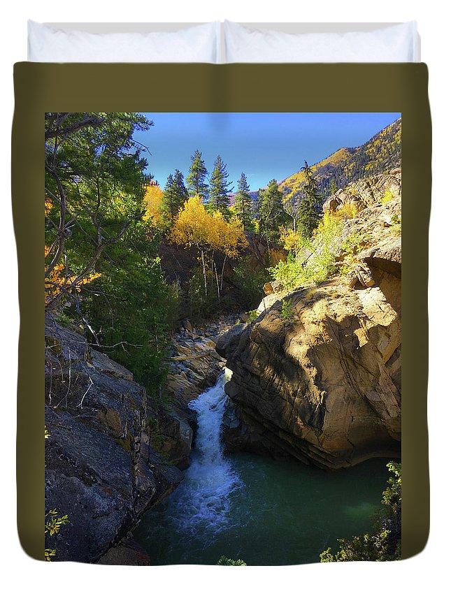 Colorado Duvet Cover featuring the photograph Lake Creek Falls by Carol Milisen