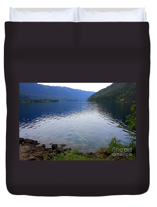 Lake Crescent Duvet Cover featuring the photograph Lake Crescent - Digital Painting by Carol Groenen