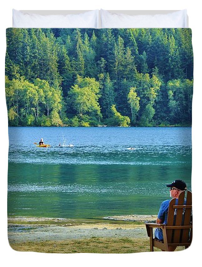 Lake Crescent Duvet Cover featuring the photograph Lake Crescent by Terry Matysak