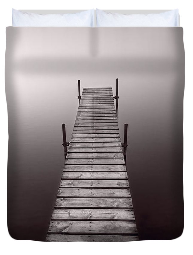 Abstract Duvet Cover featuring the photograph Lake Dock In Michigan by Steve Gadomski