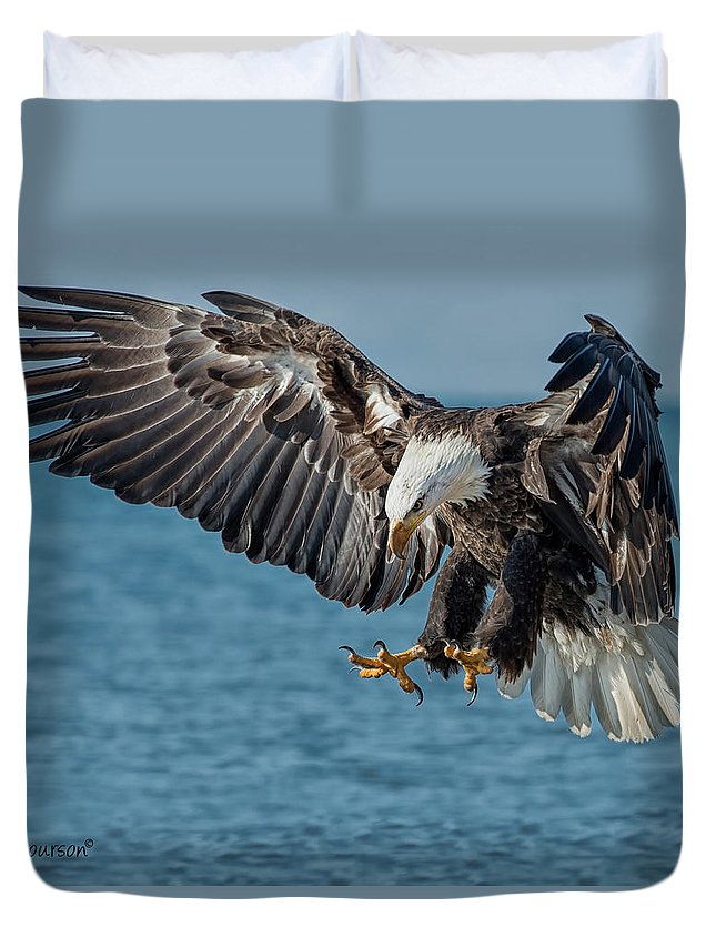Eagle Duvet Cover featuring the photograph Lake Erie Eagle by CR Courson