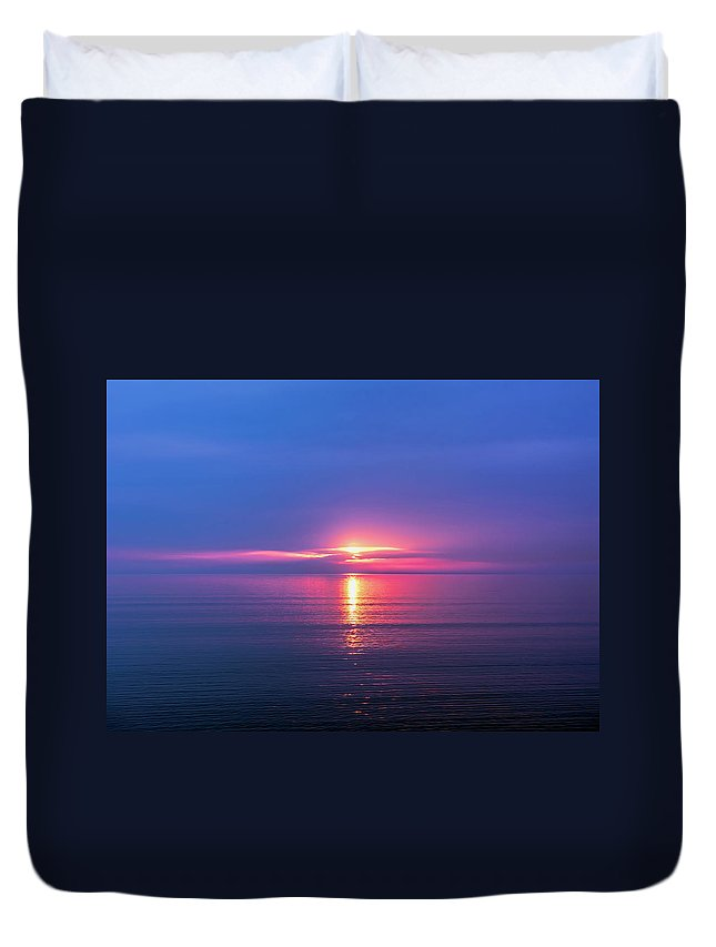 Lake Duvet Cover featuring the photograph Lake Erie Sunrise by Scott Bryan