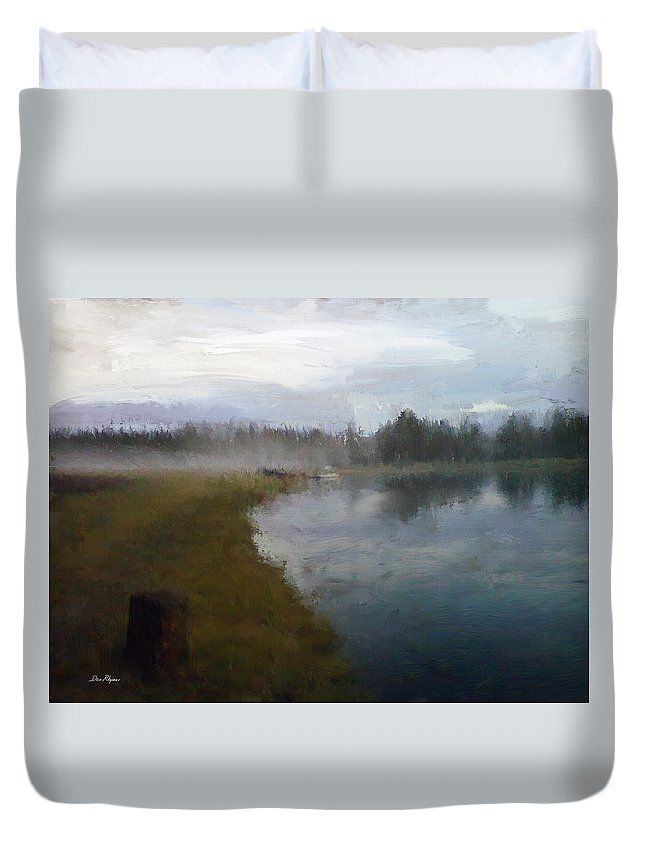 Landscape Duvet Cover featuring the digital art Lake Eufaula by Daniel Rhymes