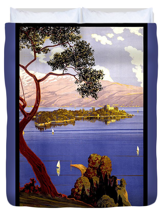 Lake Garda Duvet Cover featuring the painting Lake Garda Vintage Poster Restored by Vintage Treasure