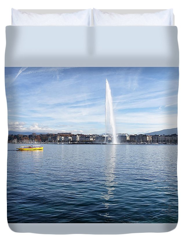 Geneva Duvet Cover featuring the photograph Lake Geneva Switzerland With Water Fountain And Water Taxi On A by Thomas Baker
