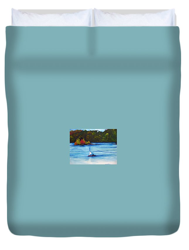 Water Duvet Cover featuring the painting Lake Glenville Sold by Lil Taylor