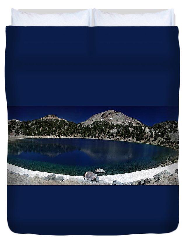 Mirror Duvet Cover featuring the photograph Lake Helen Lassen by Peter Piatt