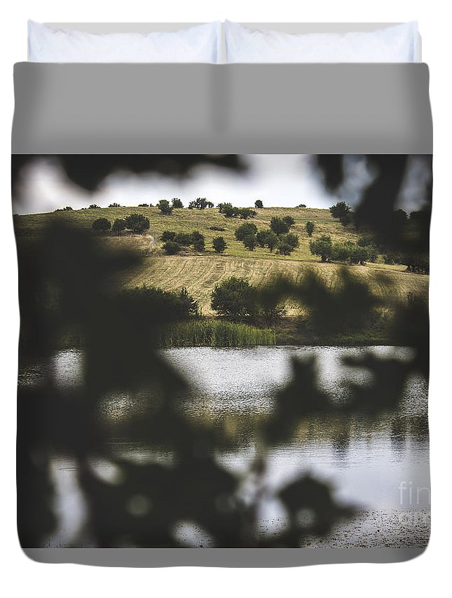 Lake Duvet Cover featuring the photograph Lake by Hlias Vogiatzis