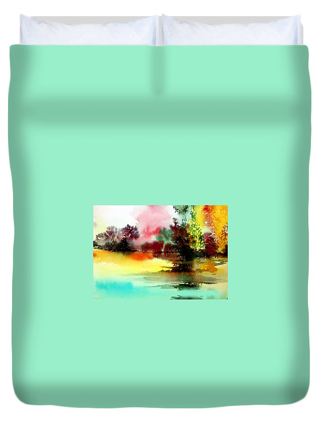 Nature Duvet Cover featuring the painting Lake In Colours by Anil Nene