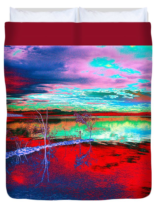 Sea Duvet Cover featuring the digital art Lake In Red by Helmut Rottler