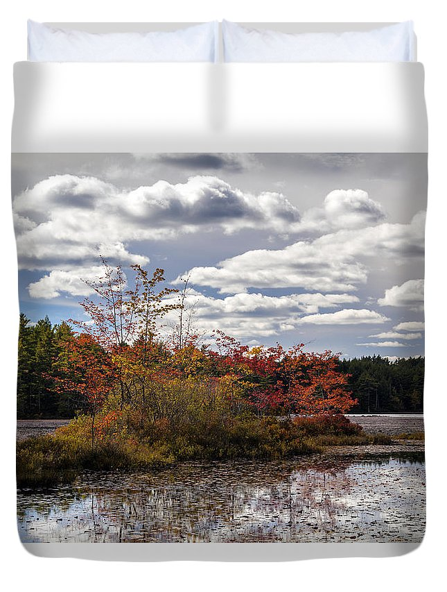Autumn Duvet Cover featuring the photograph Lake Island Autumn by Irwin Barrett