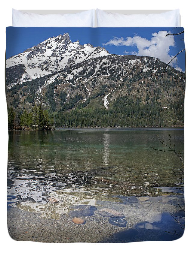 Grand Tetons Duvet Cover featuring the photograph Lake Jenny Grand Tetons by Heather Coen