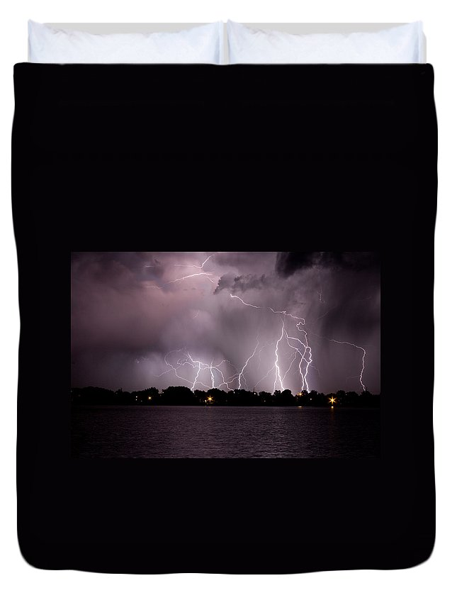 Lightning Duvet Cover featuring the photograph Lake Lightning 2 by James BO Insogna