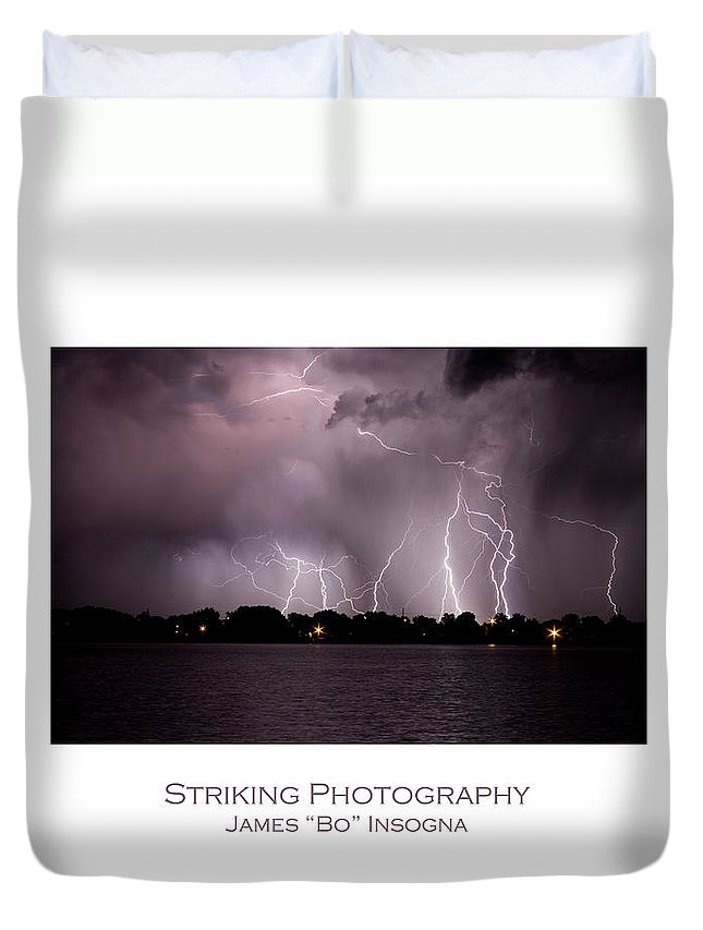 Lightning Duvet Cover featuring the photograph Lake Lightning 2 Poster by James BO Insogna
