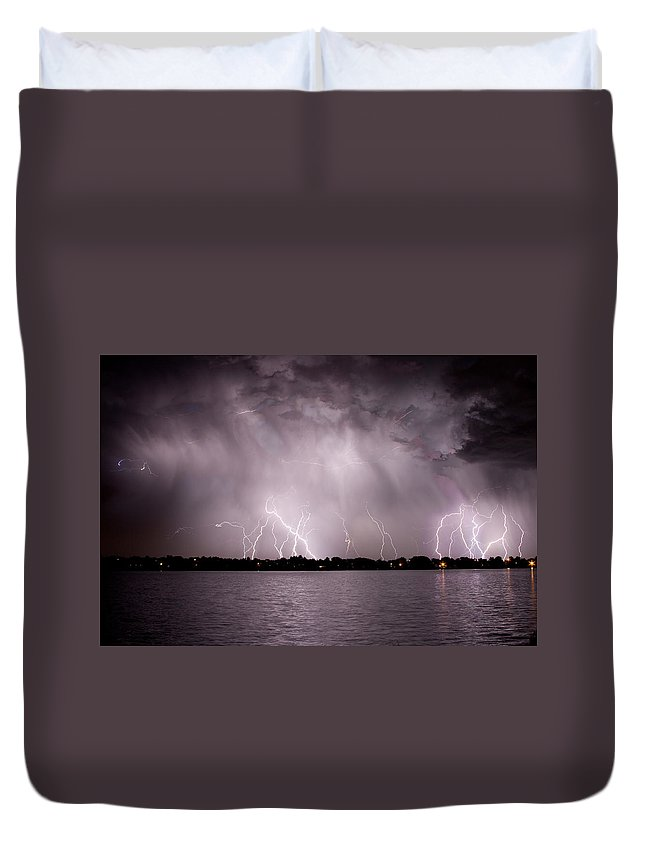 Lightning Duvet Cover featuring the photograph Lake Lightning by James BO Insogna