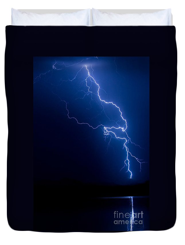 Lightning Duvet Cover featuring the photograph Lake Lightning Strike by James BO Insogna