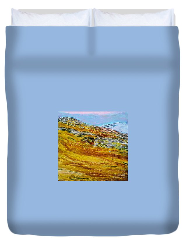 Mountain Duvet Cover featuring the drawing Lake Los Angeles Evening Somg by Ishy Christine MudiArt Gallery