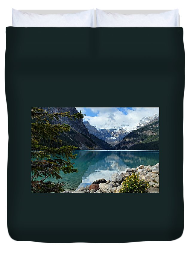 Lake Louise Duvet Cover featuring the photograph Lake Louise 2 by Larry Ricker
