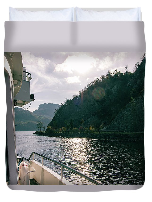 Boat Duvet Cover featuring the photograph Lake Lucerne From A Boat by Scott DaLuz