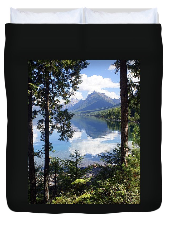 Glacier National Park Duvet Cover featuring the photograph Lake Mcdlonald Through The Trees Glacier National Park by Marty Koch