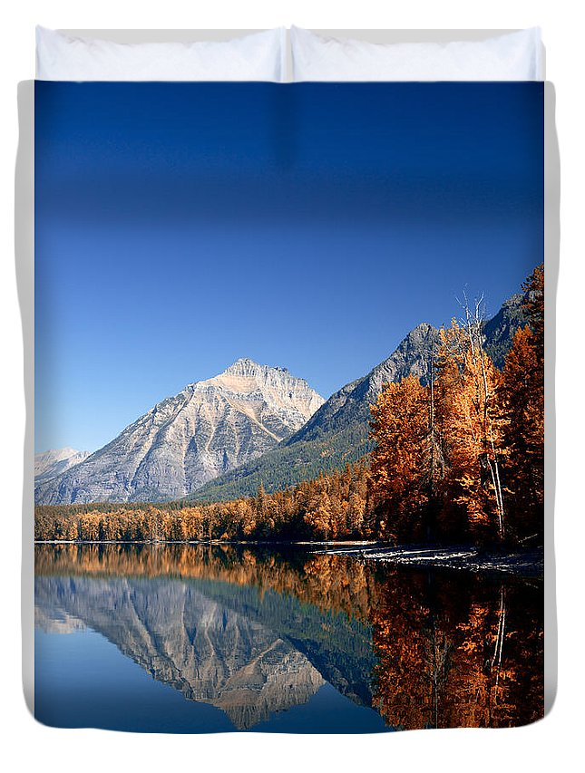 Lawrence Duvet Cover featuring the photograph Lake Mcdonald Autumn by Lawrence Boothby