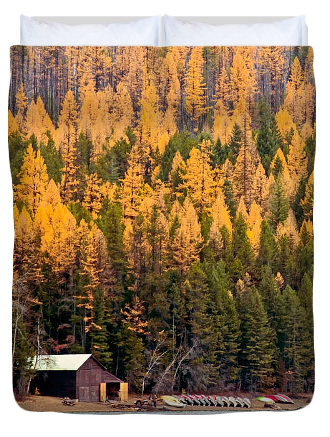 Lake Duvet Cover featuring the photograph Lake Mcdonald Boatshed by Nicholas Blackwell