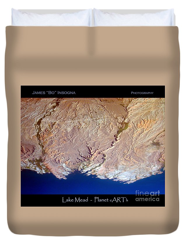 Aerial Duvet Cover featuring the photograph Lake Mead - Planet Art by James BO Insogna