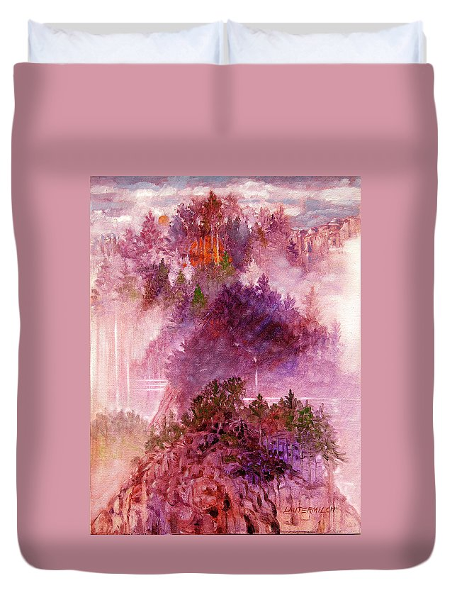 Landscape Duvet Cover featuring the painting Lake Memories by John Lautermilch