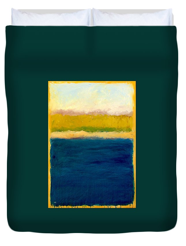 Dunes Duvet Cover featuring the painting Lake Michigan Beach Abstracted by Michelle Calkins