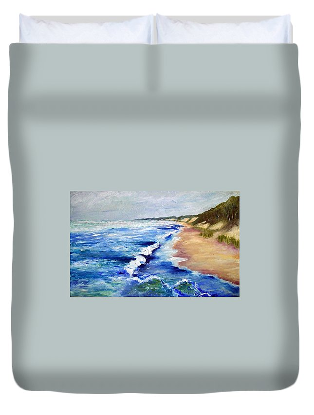 Whitecaps Duvet Cover featuring the painting Lake Michigan Beach With Whitecaps by Michelle Calkins
