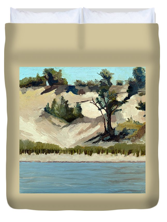Nature Duvet Cover featuring the painting Lake Michigan Dune with Trees and Beach Grass by Michelle Calkins