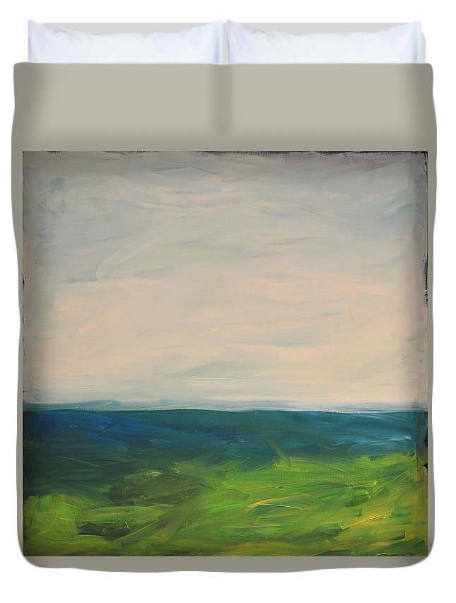 Lake Duvet Cover featuring the painting Lake Michigan by Tim Nyberg