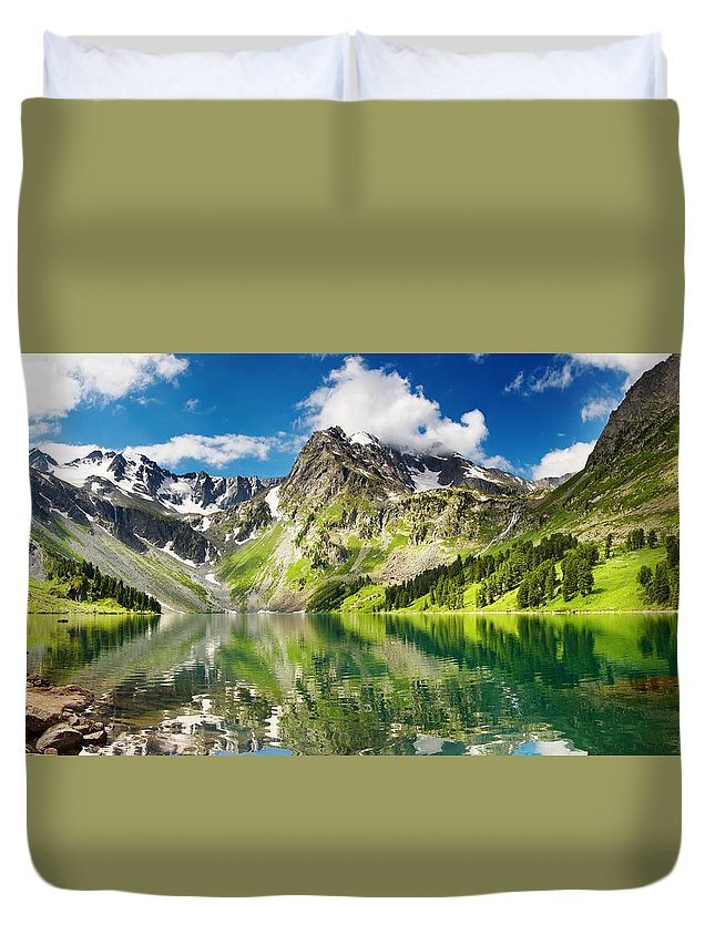 Lake Duvet Cover featuring the photograph Lake Mountain Green Nature Landscape By Elvin Siew Chun Wai by Elvin Siew Chun Wai