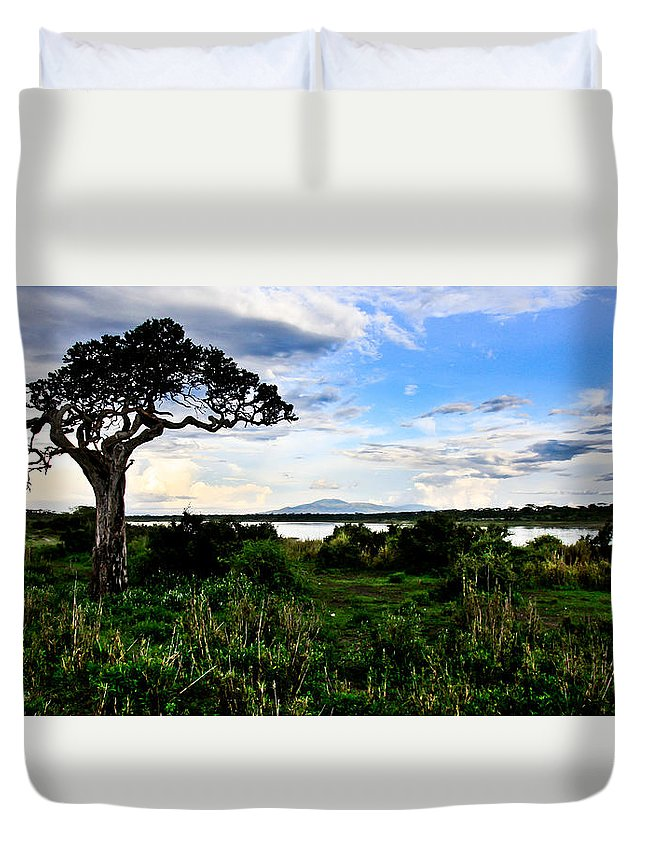 Africa Duvet Cover featuring the photograph Lake Ndutu Shores by Remy Simon