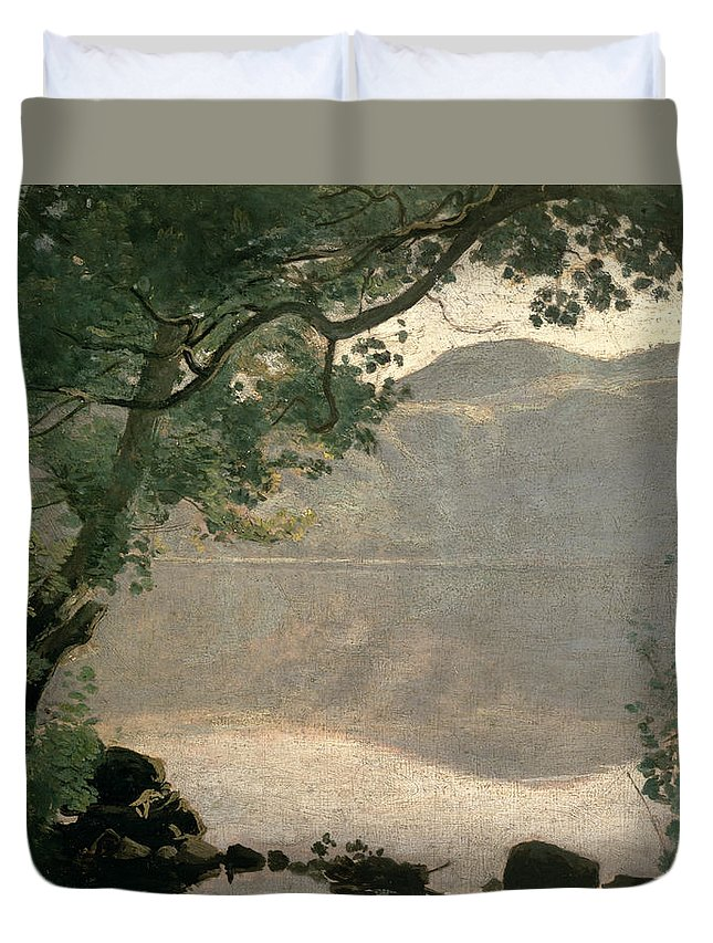 Lake Nemi Duvet Cover featuring the painting Lake Nemi by Jean Baptiste Camille Corot