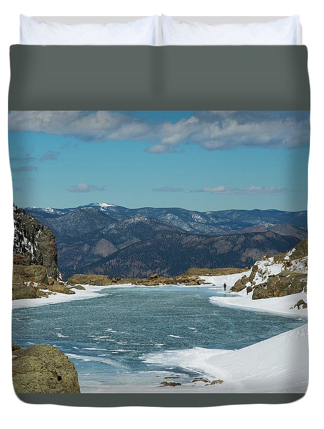 Landscape Duvet Cover featuring the photograph Lake Of Glass Winter by Rob Lantz