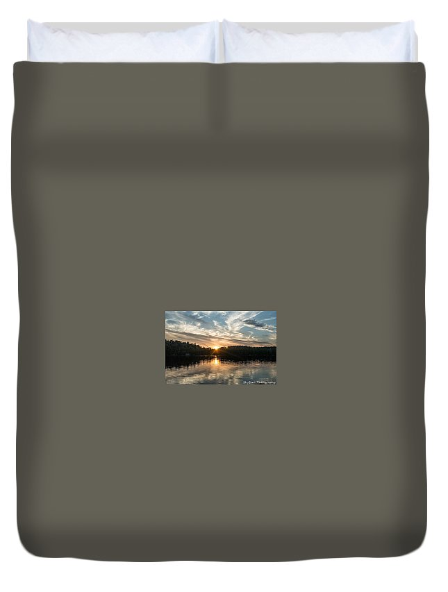 Lake Onaping Duvet Cover featuring the photograph Lake Onaping Sunset Reflections by Megan Miller
