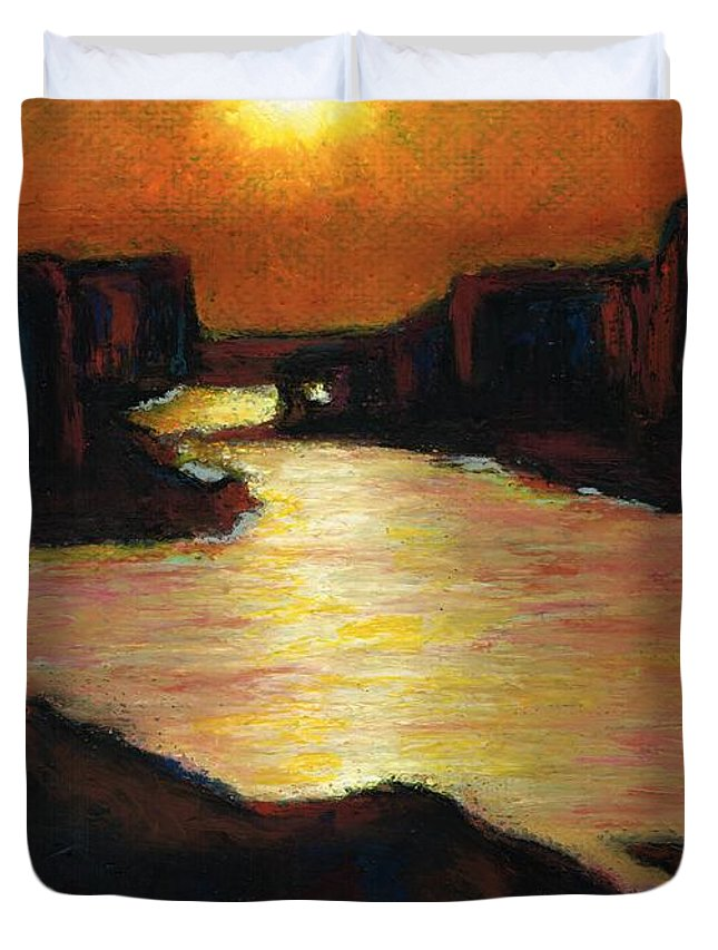 Lake Powell Duvet Cover featuring the painting Lake Powell At Sunset by Frances Marino