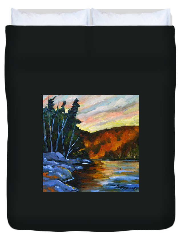 Art Duvet Cover featuring the painting Lake Reflections by Richard T Pranke