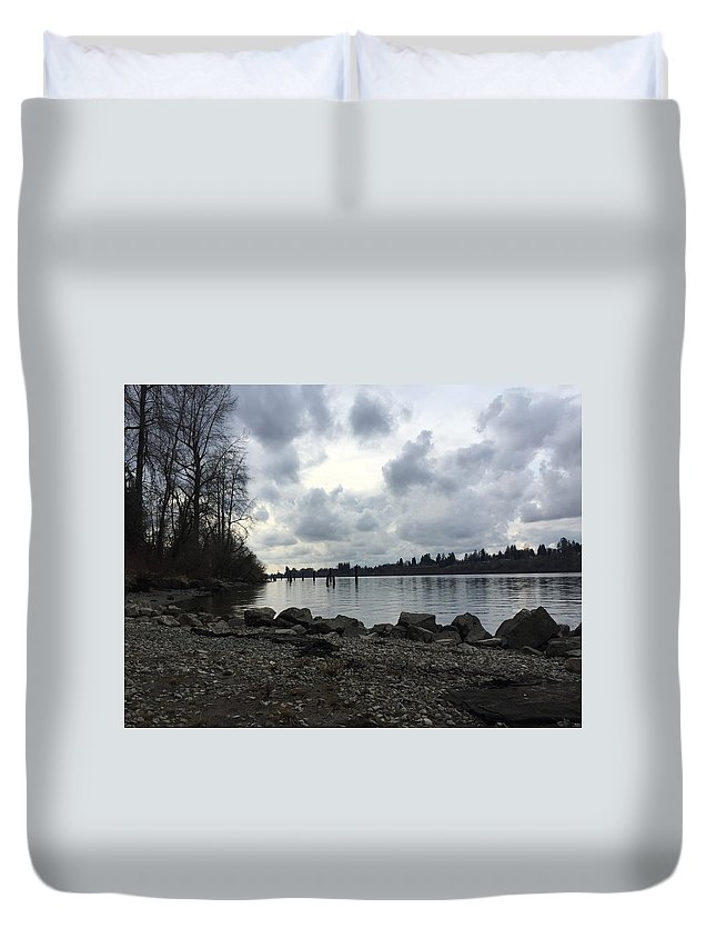 Landscape Duvet Cover featuring the photograph Lake Side by Paige Miles