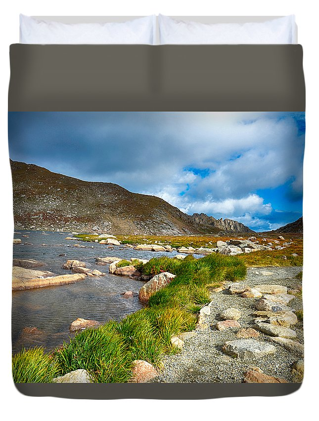 Colorado Duvet Cover featuring the mixed media Lake Summit Tundra Path by Angelina Vick