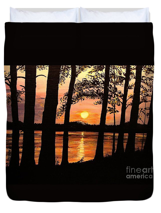 Sunset Duvet Cover featuring the painting Lake Sunset by Patricia L Davidson