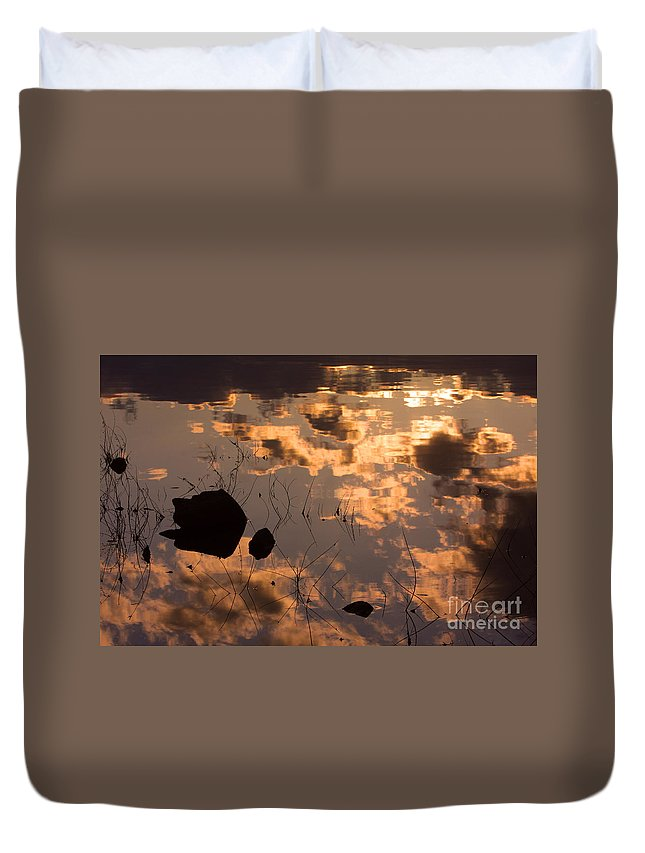 Sunrise Duvet Cover featuring the photograph Lake Sunset Reflections by James BO Insogna