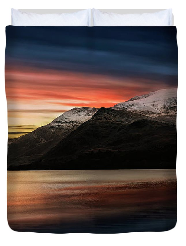 Sunset Duvet Cover featuring the photograph Lake Sunset Snowdonia by Adrian Evans