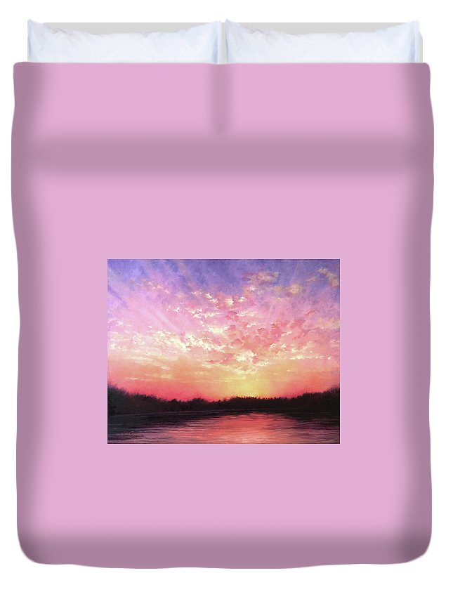 Landscape Duvet Cover featuring the painting Lake Sunset by Teri Rosario