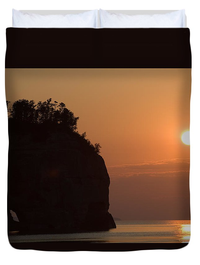 Lake Duvet Cover featuring the photograph Lake Superior Sunset by Sebastian Musial