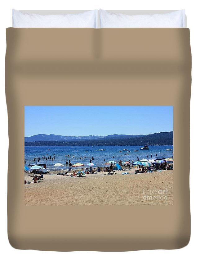 Lake Tahoe Duvet Cover featuring the photograph Lake Tahoe Beach Scene by Carol Groenen