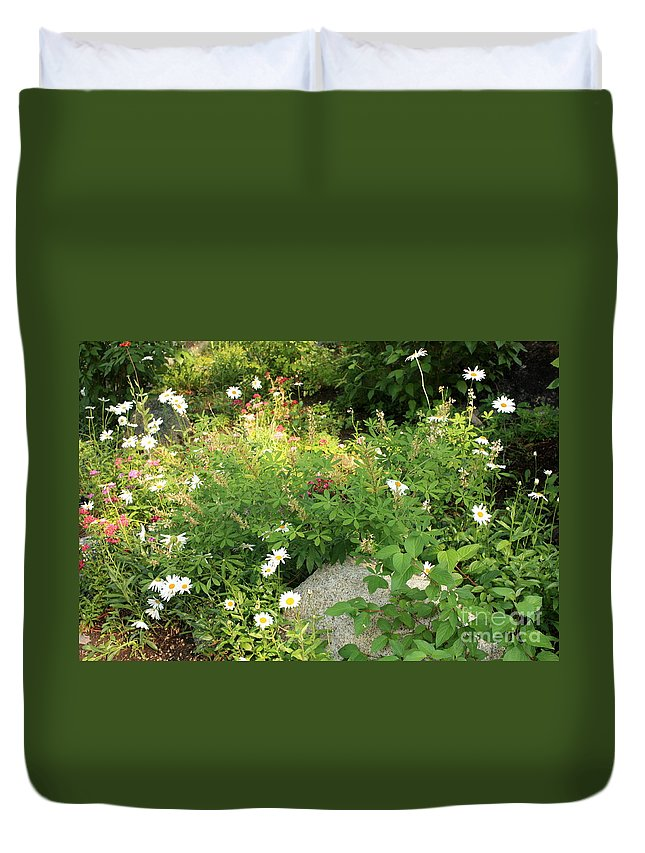 Lake Tahoe Duvet Cover featuring the photograph Lake Tahoe Flower Garden by Carol Groenen