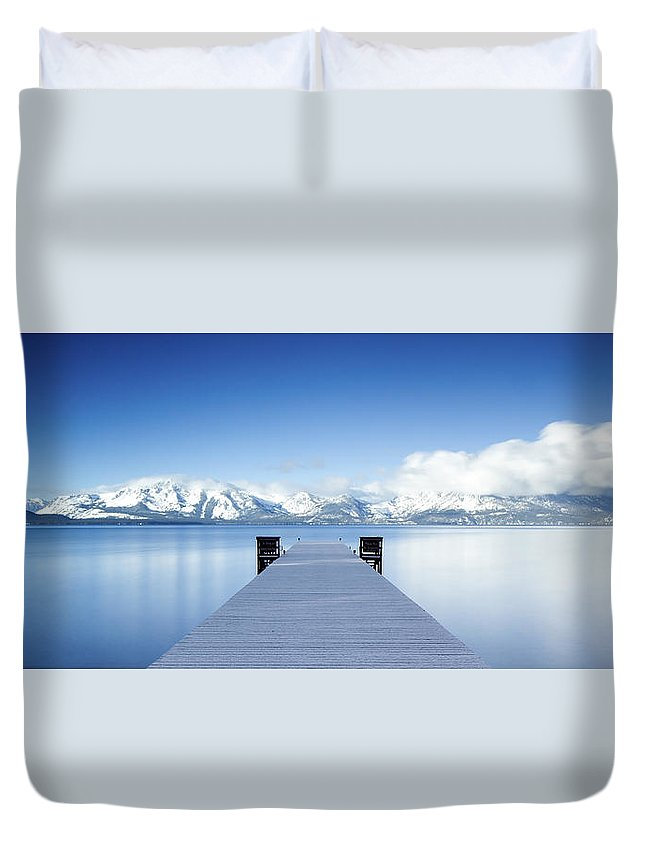 Lake Duvet Cover featuring the photograph Lake Tahoe Panorama by Matthew Train